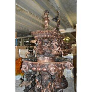 Bronze Nine Feet Tall Outdoor Pond Fountain
