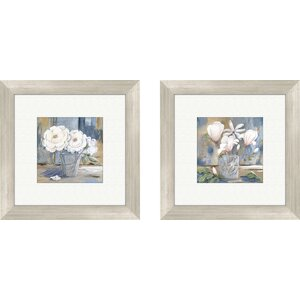 'Cottage Roses' Framed Painting Print (Set of 2) by August Grove