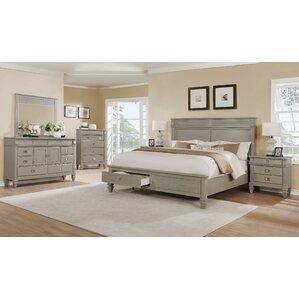 Vasilikos Gray Solid Wood Construction Platform 5 Piece Bedroom Set by Beachcrest Home