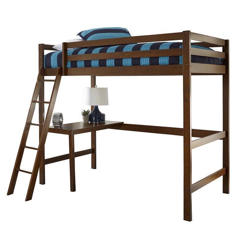 harriet bee felipe twin bunk with study loft reviews wayfair. Black Bedroom Furniture Sets. Home Design Ideas