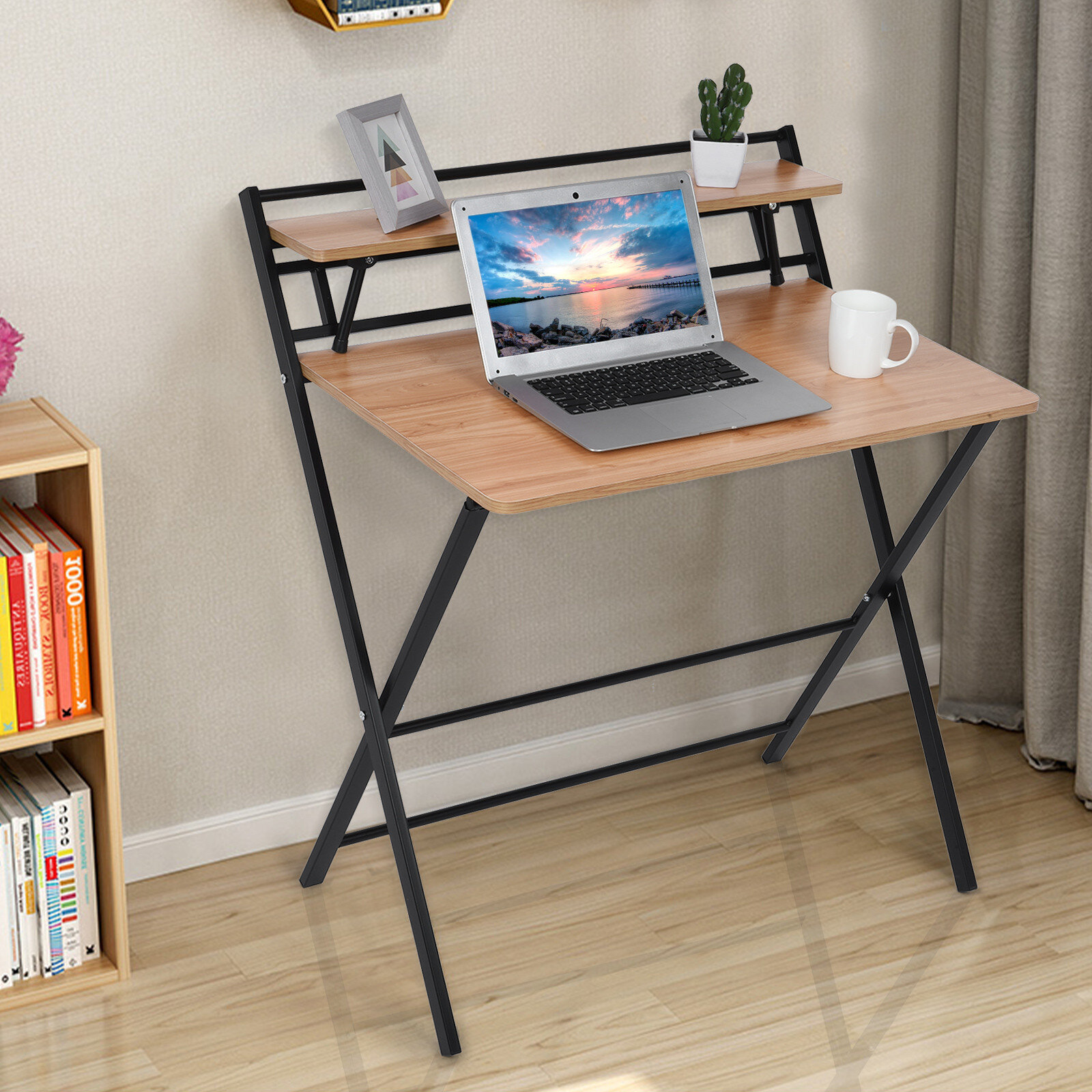 Details about  /Folding Study Desk For Small Space Home Office Desk Simple Laptop Writing Table