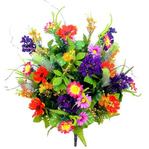 Artificial Full Blooming Lilac, Daisy and Black Eyed Susan with Foliage Mixed Flowers Bush