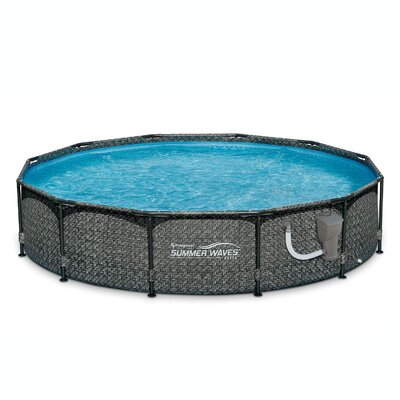 """Summer Waves 12' X 33"""""""" Outdoor Round Frame Above Ground Swimming Pool With Pump Polygroup Trading Ltd -  P20012331"""