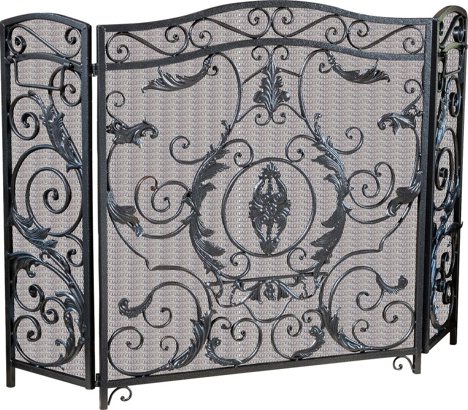 Black Iron Fireplace Screen. Hayward 3 Panel Iron Fireplace Screen Home Loft Concepts  Reviews