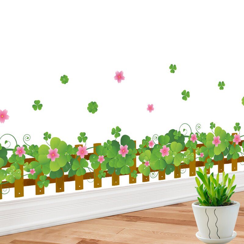retailsource flower border fence wall decal | wayfair