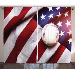 Baseball Soccer Decor Graphic Print Room Darkening Rod Pocket Curtain Panels Set Of 2
