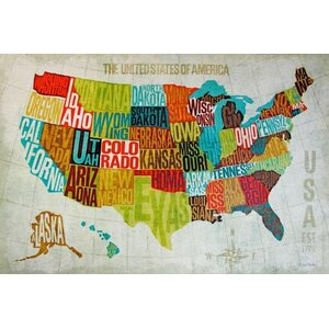 'Map of USA' by Michael Mullan Graphic Art on Wrapped Canvas by Buy Art For Less