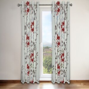 Reni Nature/Floral Semi-Sheer Grommet Single Curtain Panel