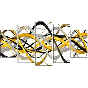 'Helix Expression Abstract' 5 Piece Graphic Art on Wrapped Canvas Set by Zipcode Design