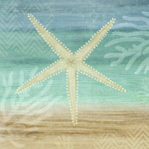 'Aqua Starfish' Graphic Art on Wrapped Canvas by Beachcrest Home