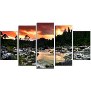 'Rocky Mountain River at Sunset' 5 Piece Wall Art on Wrapped Canvas Set by Design Art