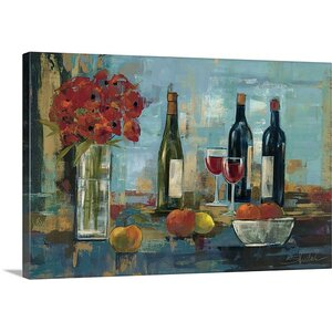 'Fruit and Wine' by Silvia Vassileva Painting Print on Canvas by Canvas On Demand