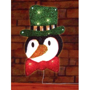 lighted tinsel penguin in top hat christmas window silhouette decoration