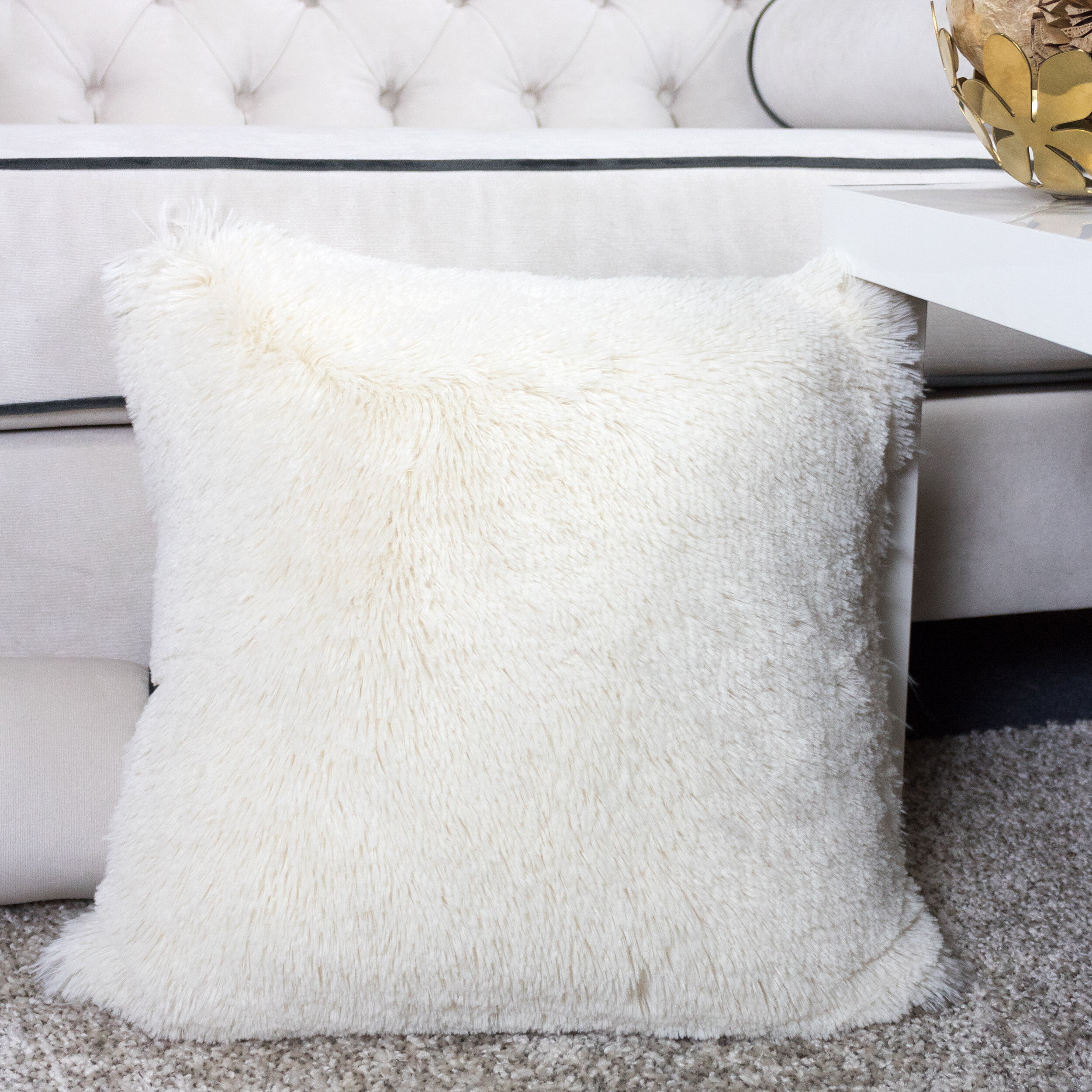Everly Quinn Kimmel Fur Double Side Luxury Fluffy Plush Throw Pillow