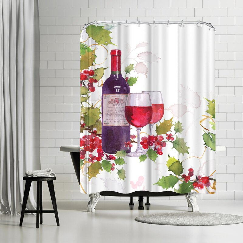 Harrison Ripley Holly And Wine Shower Curtain