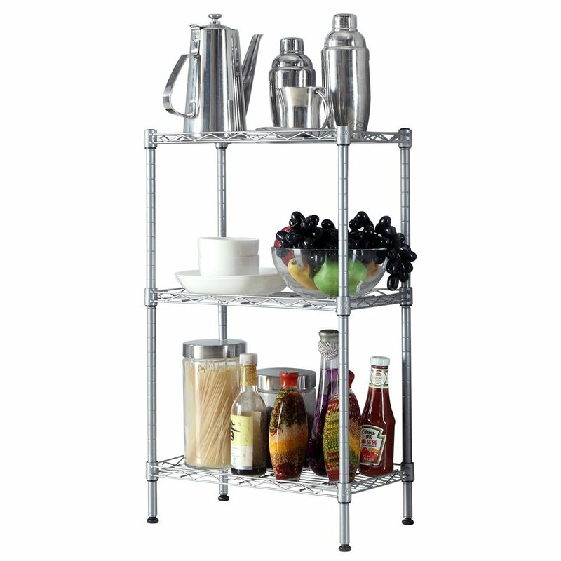 Rebrilliant Alena 3-Tier Wire Shelving Rack with S Hooks and Extra ...
