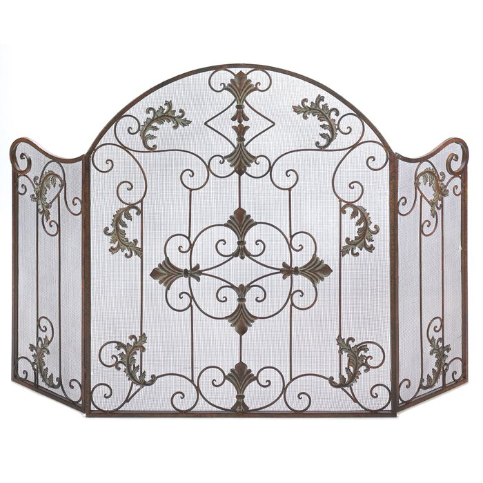 Embellished 3 Panel Iron Fireplace Screen