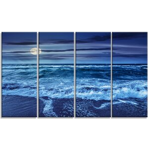 'Sky and Waters' 4 Piece Wall Art on Wrapped Canvas Set by Design Art