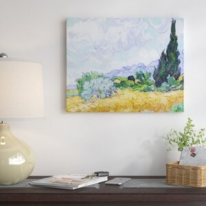 'Wheat Field with Cypresses' by Vincent Van Gogh Oil Painting Print on Wrapped Canvas by Red Barrel Studio