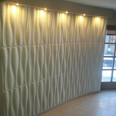 "19.7"" L x 19.7"" W 3D Embossed/Paintable 60-Panel Wallpaper Panel e-Joy"