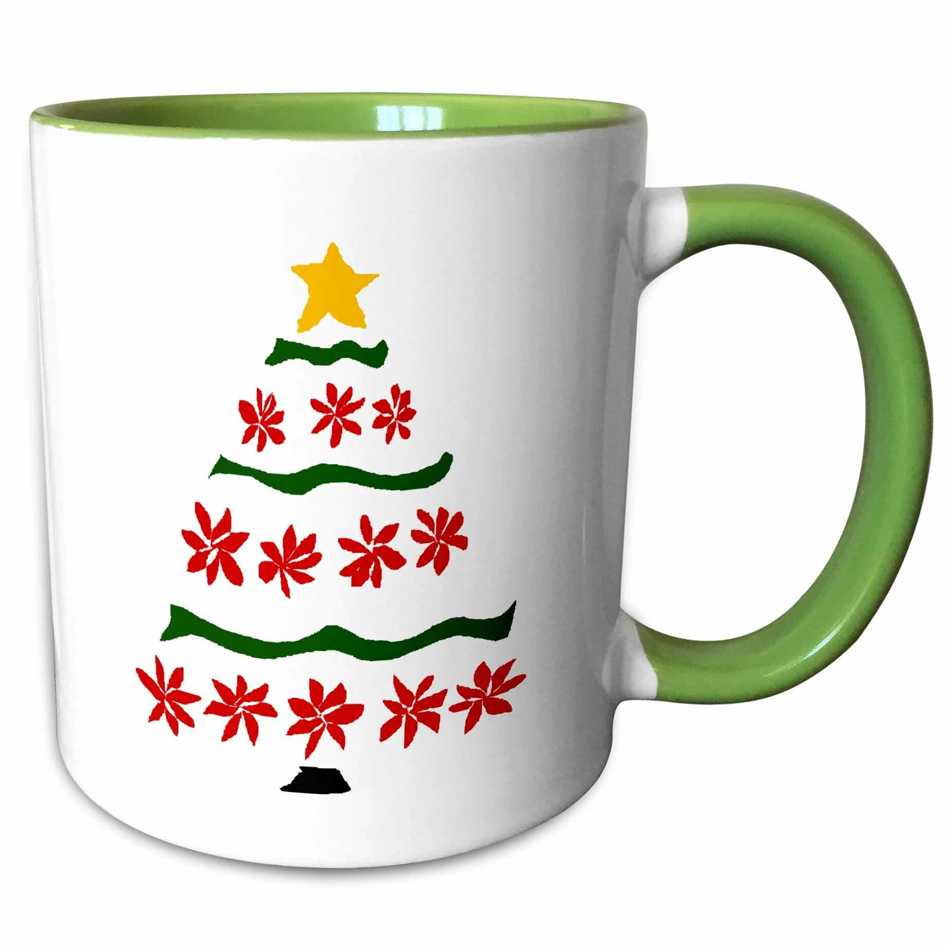 East Urban Home Tadi Artistic Poinsettia Flowers And Ribbons Art Christmas Tree Coffee Mug Wayfair