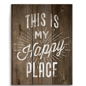 'This Is My Happy Place' Textual Art on Wood by Zipcode Design