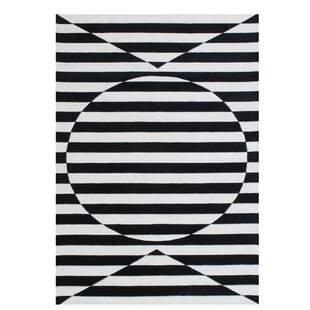 Read Reviews Gladding Stimulating Optical Illusion In The 3D Design Hand-Tufted Wool Black Area Rug By Brayden Studio