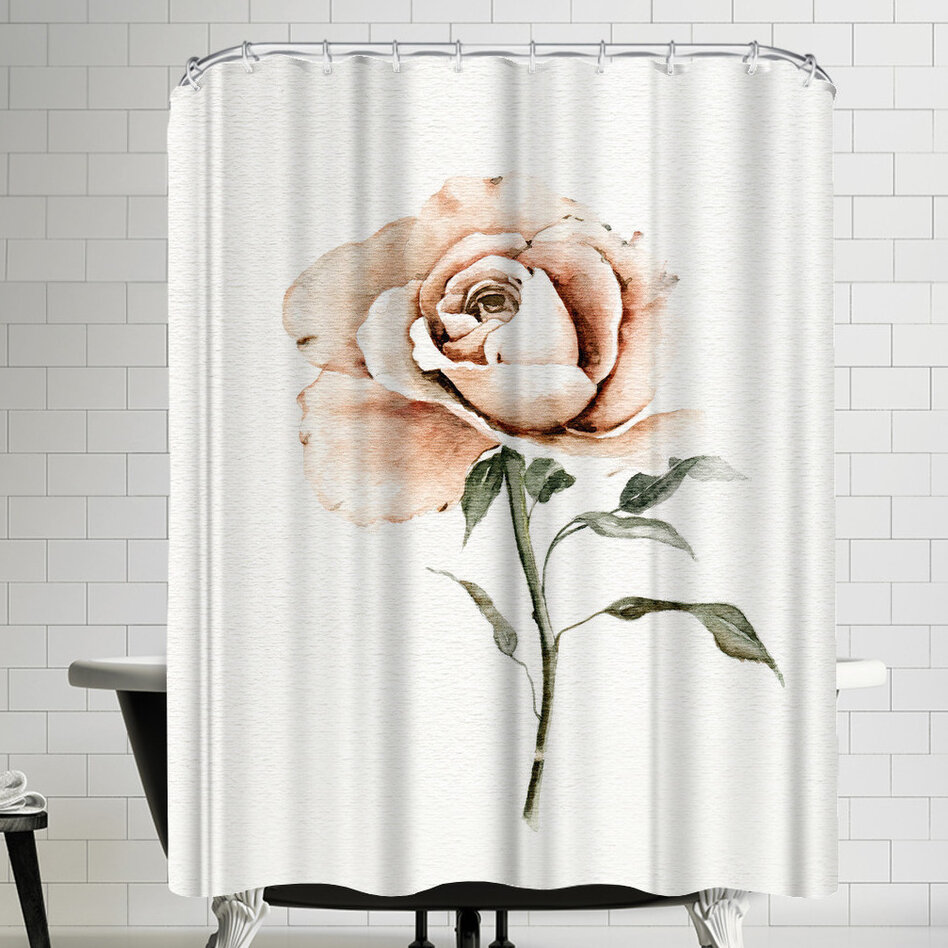 East Urban Home Single Peach Rose Shower Curtain
