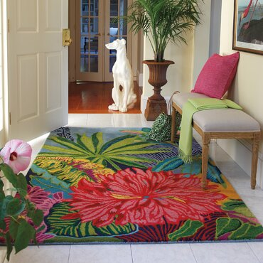 captiva green red area rug