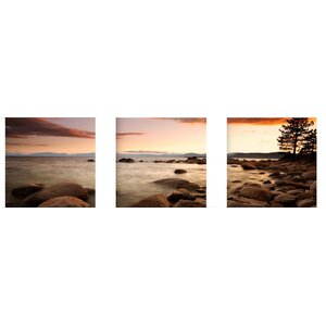 Sunset at Cove 3 Piece Framed Photographic Print Set by Artistic Bliss