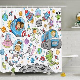 Bargain Outer Space Deep Space Astronaut Alien Rockets on Moon Kids Nursery Shower Curtain Set ByAmbesonne