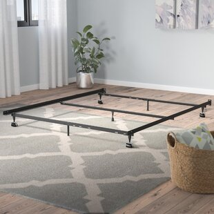 Heavy Duty 7 Leg Adjustable Metal Bed Frame With Center Support And Rug  Roller Bed Frame