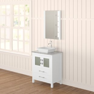 Stanardsville 28 Single Bathroom Vanity Set with White Marble Top and Mirror By Brayden Studio
