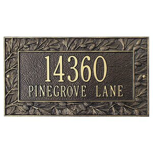 Pinecone 2-Line Wall Address Plaque