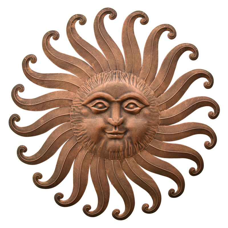 circles sunburst sculpture sun small face decor metal ind outdoor wall art terracotta large
