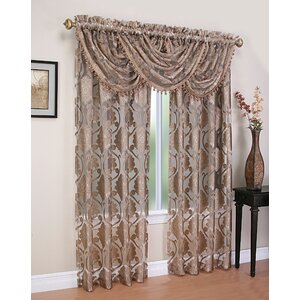 Weinstock 5 Piece Damask Sheer Rod Pocket Curtain Panels Set