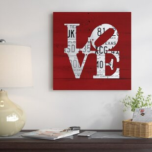 Recycled License Plate Love Word Art Textual Art On Wrapped Canvas