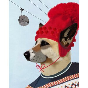 Dog in Ski Sweater Painting Print on Wrapped Canvas by Courtside Market
