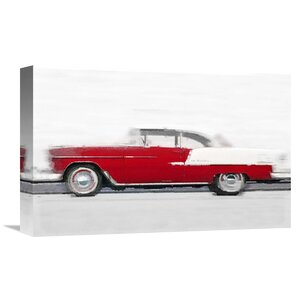 '1955 Chevy Bel Air Watercolor' Painting Print on Wrapped Canvas by Naxart