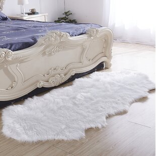 Clearance Haywards Luxury Hand-Tufted Faux Fur White Area Rug By House of Hampton
