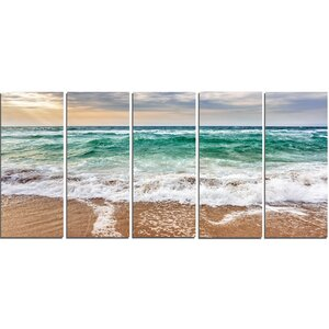 Crystal Clear Blue Foaming Waves 5 Piece Photographic Print on Wrapped Canvas Set by Design Art