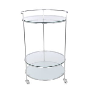 Vaishal Rolling Bar Cart with Tempered Glass by Orren Ellis