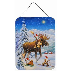 Christmas Gnome Riding Reindeer by Charles Gouling Painting Print Plaque by Caroline's Treasures