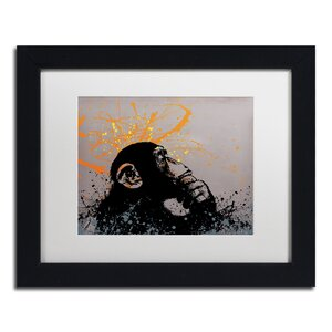 The Thinker by Banksy Framed Graphic Art by Trademark Fine Art
