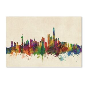 'Shanghai China Skyline' Graphic Art Print on Canvas by Trademark Fine Art