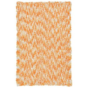 Shagadelic Orange Twist Swirl Shag Area Rug