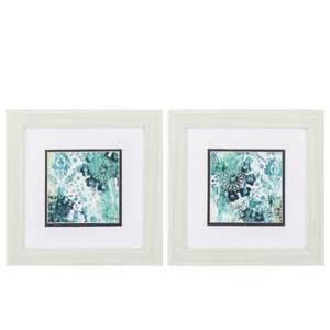 'Blue Floral Layers' 2 Piece Framed Graphic Art Set by Propac Images