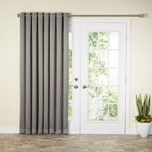 Wayfair Basics Solid Room Darkening Grommet Extra Wide Patio Door Curtain  Panel