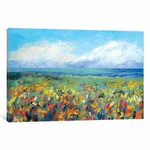 'Wildflower Seascape' Painting Print on Canvas by East Urban Home