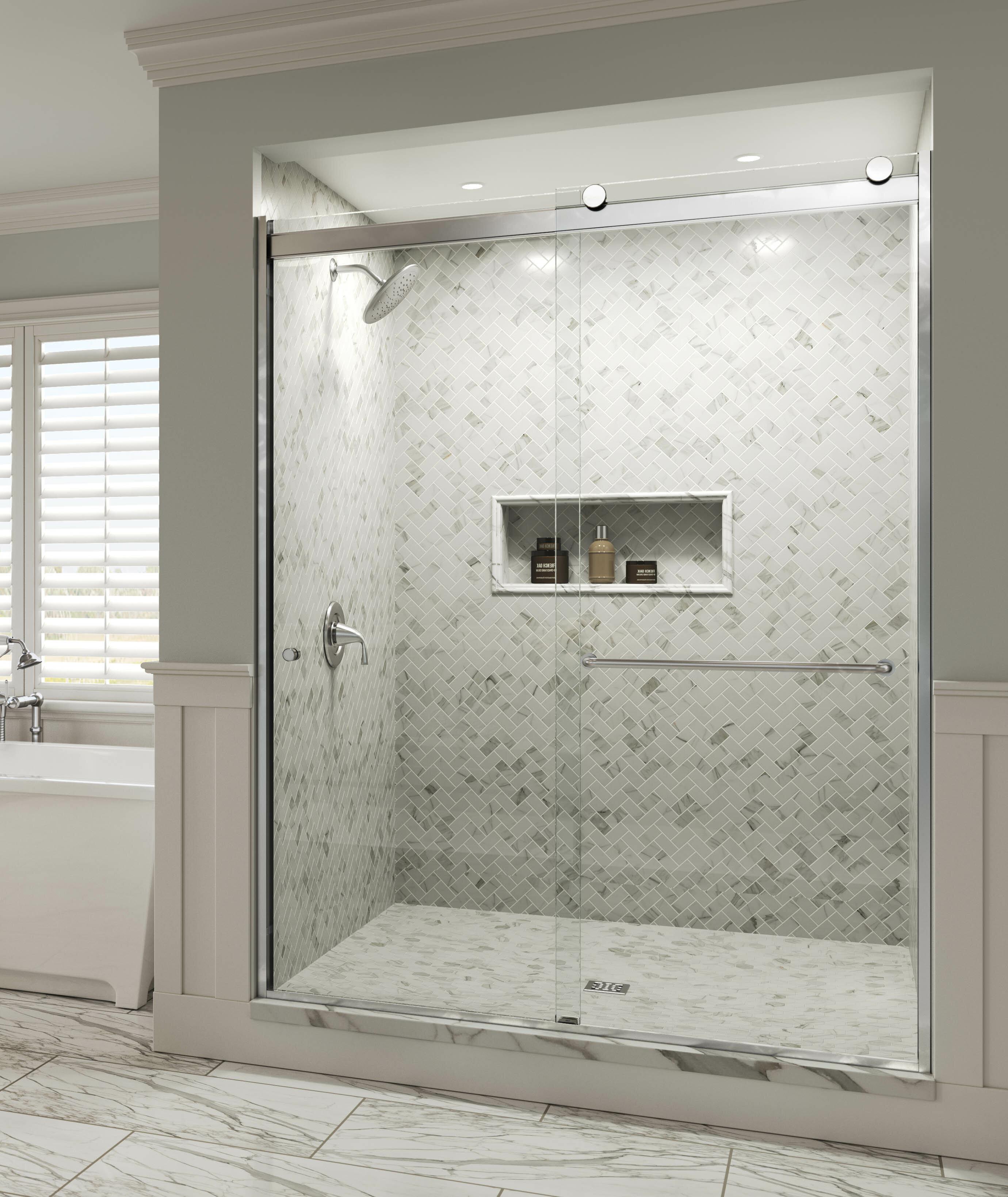 30 Long Oil Rubbed Bronze Sliding Frameless Shower Door Double Towel Bar Kit